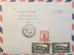 J) 1960 MOROCCO, VALLE OF DRAA, MULTIPLE STAMPS, AIRMAIL, CIRCULATED COVER, FROM MOROCCO TO MIAMI - Marokko (1956-...)