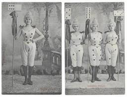 Fantaisie Femmes Dominos Quelques Etoiles Lot De 2 CPA - Femmes