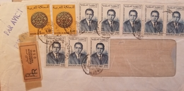 J) 1965 MOROCCO, CONIS, REGISTERED, ILLUSTRATED PEOPLE, MULTIPLE STAMPS, AIRMAIL, CIRCULATED COVER, FROM MOROCCO - Marokko (1956-...)