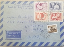 J) 1951 HUNGARY, SUBURBAN BUS TERMINAL, ILLUSTRATED PEOPLE, MULTIPLE STAMPS, AIRMAIL, CIRCULATED COVER, FROM HUNGARY TO - Marokko (1956-...)