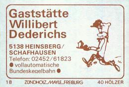 1 Altes Gasthausetikett, Gaststätte Willibert Dederichs, 5138 Heinsberg/Schafhausen #802 - Matchbox Labels