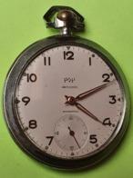 MONTRE GOUSSET - POP - FONCTIONNE - Bon état - Métal Chromé - Fond Vissé - Années 1950 / 1960 - Relojes De Bolsillo
