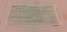 BIGLIETTO TRENO SUPPLEMENTO DA TERMINI IMERESE A ROMA TERMINI 1982 - Treni