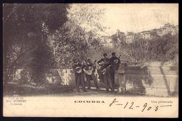 Postal Antigo COIMBRA Uma Guitarra Estudantes. Edição Pap.Borges. Circulado C/selo Em 1905. Old Postcard PORTUGAL - Coimbra