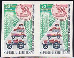 CHAD (1969) Tractor. Truck. Dozer. Grain. Imperforate Pair. ILO 50th Anniversary. Scott No 180, Yvert No 178. - Tschad (1960-...)