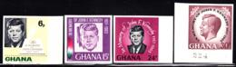 GHANA (1965) JFK. Set Of 4 Imperforates. Kennedy Memorial. Scott Nos 236-9, Yvert Nos 225-8.. - Ghana (1957-...)