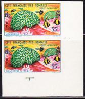SOMALI COAST (1963) Brain Coral. Imperforate Corner Pair. Scott No C27, Yvert No PA35. - French Somali Coast (1894-1967)