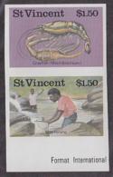 ST. VINCENT (1986) Crayfish Harvesting. Imperforate Se-tenant Pair. Scott No 985, Yvert Nos 981-2. - St.Vincent (1979-...)