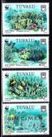 TUVALU (1992) Blue Coral. Set Of 4 Overprinted SPECIMEN. Scott Nos 617-20, Yvert Nos 609-12. - Tuvalu