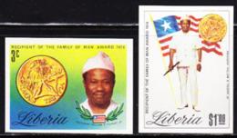 LIBERIA (1974) Family Of Man Medal. President Tolbert. Set Of 2 Imperforates. Scott Nos 689-90, Yvert Nos 659-60. - Liberia