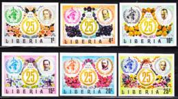 LIBERIA (1973) WHO Emblem. Famous Doctors. Set Of 6 Imperforates. Scott Nos 641-6, Yvert Nos 612-6. - Liberia