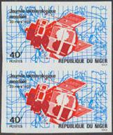 NIGER (1975) Weather Satellite & Map. Imperforate Pair. Scott No 311, Yvert No 315. - Niger (1960-...)