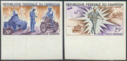 CAMEROUN (1966) Plane. Ship. Soldier. Tank. Moto. Complete Set Of 4 Imperforate Margin Copies. Scott Nos C73-6 - Camerun (1960-...)