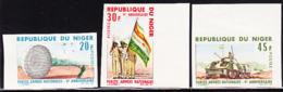 NIGER (1966) Armed Forces. Set Of 3 Imperforates. Scott Nos 175-7, Yvert Nos 181-3. - Niger (1960-...)