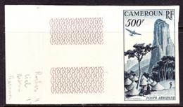CAMEROUN (1953) Humsiki Peak. Plane. Trees. Trial Color Proof. Scott No C30, Yvert No PA41. - Camerun (1960-...)