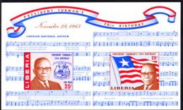 LIBERIA (1965) President Tubman. Score Of National Anthem. Imperforate M/S Of 2. Scott No C169a, Yvert No BF35. - Liberia
