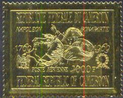 CAMEROUN (1969) Napoleon Crossing St. Bernard. Gold Foil Stamp. Scott No C126. - Camerun (1960-...)