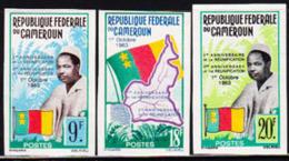 CAMEROUN (1963) President Ahidjo. Flag. Map. Set Of 3 Imperforates. 2nd Anniversary Of Reunification. Scott Nos 389-91 - Camerun (1960-...)