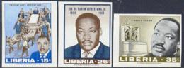 LIBERIA (1968) M.L. King Memorial. Set Of 3 Imperforates. Scott Nos 480-2, Yvert Nos 457-9. - Liberia
