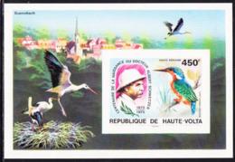 UPPER VOLTA (1975) Schweitzer. Malachite Kingfisher. Imperforate S/S. Scott No C215, Yvert No BF5af. - Obervolta (1958-1984)
