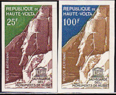 UPPER VOLTA (1964) Ramses II, Abu Simbel. Set Of 2 Imperforates. Scott Nos C12-13, Yvert Nos PA12-13. - Obervolta (1958-1984)