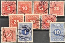 AUSTRIA 1916 - Canceled - ANK 47, 48, 49, 50, 51, 52, 53, 54, 55, 57 - Portomarken - Portomarken