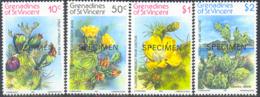 ST. VINCENT (1982) Cacti. Set Of 4 Overprinted SPECIMEN. Scott Nos 239-42, Yvert Nos 239-42. - St.-Vincent En De Grenadines