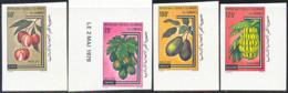 COMORO ISLANDS (1979) Litchi. Papaya. Avocado. Banana. Set Of 4 Imperforates. Scott Nos 466-9, Yvert Nos 282-5. - Komoren (1975-...)
