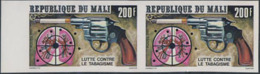"""MALI (1980) Pistol """"shooting"""" Smoking Cigarette. Lungs With Bullet Holes. Imperforate Margin Pair. Scott No 395 - Mali (1959-...)"""