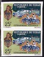 CHAD (1965) Motorized Police. Imperforate Pair. Scott No 115, Yvert No 113. - Tschad (1960-...)