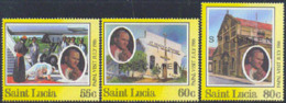 ST. LUCIA (1986) Visit Of John Paul II. Set Of 3 Overprinted SPECIMEN. Scott Nos 835-7, Yvert Nos 818-20. - St.Lucie (1979-...)