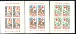 TOGO (1959) Infirmières. Malades. Séries De 3 émissions Pour La Croix Rouge, En Blocs De 4. Yvert Nos 292-4 - Togo (1960-...)