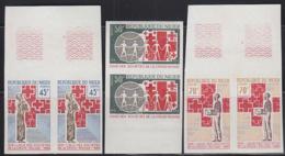 NIGER (1969) Red Cross Societies. Set Of 3 Imperforate Pairs. Scott Nos 215-7, Yvert Nos 220-2. - Niger (1960-...)