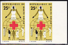 UPPER VOLTA (1966) Red Cross Worker. Imperforate Pair. Scott No 167, Yvert No 159. - Obervolta (1958-1984)