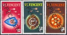 ST. VINCENT (1978) Rotary. Lions. Jaycees. Set Of 3 Overprinted SPECIMEN. Scott Nos 532-4, Yvert Nos 517-9. - St.Vincent (1979-...)