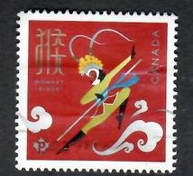 Sc. #2884 Lunar New Year, Year Of The Monkey Single Used  2016 K660 - 1952-.... Règne D'Elizabeth II