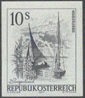 AUSTRIA (1973) Sailboats In Lake Neusiedl. Black Print. Scott No 972, Yvert No 1262. - Proofs & Reprints