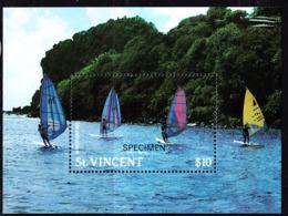 ST. VINCENT (1988) Windsurfing. S/S Overprinted SPECIMEN. Scott No 1099, Yvert No BF42. - St.Vincent (1979-...)