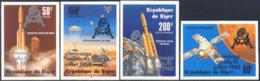 "NIGER (1979) Viking Mars Program. Set Of 4 Imperforates Overprinted ""alunissage/apollo XI/juillet 1969"". Scott 497-C296 - Niger (1960-...)"