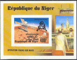 NIGER (1979) Viking Mars Lander. Imperforate S/S With Overprint. Scott No C297, Yvert No BF26. - Niger (1960-...)