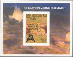 CHAD (1979) Viking Mars Lander (with Apollo 11 Anniversary Overprint). Imperforate S/S. Scott No C243, Yvert No BF31. - Tschad (1960-...)