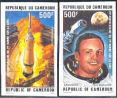 CAMEROUN (1984) First Moon Landing. Set Of 2 Imperforates. Scott Nos C325-6, Yvert Nos PA342-3. - Camerun (1960-...)