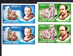 TOGO (1971) Apollo 14. Set Of 7 Imperforate Pairs. Scott Nos 774-7,C149-51. Yvert Nos 706-9,PA151-3. - Togo (1960-...)