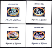 LIBERIA (1971) Apollo XIV. Set Of 6 Imperforate Minisheets And 1 S/S. Scott Nos 559-604,C193. Yvert Nos 520-5,BF53. - Liberia