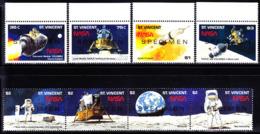 ST. VINCENT (1989) Apollo XI. Set Of 8 Overprinted SPECIMEN. Scott Nos 1204-8, Yvert Nos 1166a-h. - St.Vincent (1979-...)