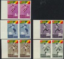 TOGO (1965) African Games. Set Of 5 Imperforate Pairs. Scott Nos 525-8,C46. Yvert Nos 453-6,PA48. - Togo (1960-...)