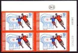 TOGO (1969) Handball. Imperforate Corner Bl/4. Opening Of Omnisport Stadium. Scott No 670, Yvert No 602. - Togo (1960-...)