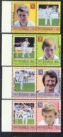 TUVALU (1985) Cricket Players. Set Of 4 Se-tenant Pairs Overprinted SPECIMEN. Scott Nos 41-4. - Tuvalu