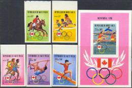 UPPER VOLTA (1976) Montreal Olympics. Set Of 5 Imperforates And Imperf S/S. Scott Nos 390-2,C231-3. - Alto Volta (1958-1984)