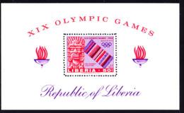 LIBERIA (1967) Pre-Hispanic Sculpture. Serape. Olympic Rings Perforate S/S. Scott No C177, Yvert No PA40. - Liberia